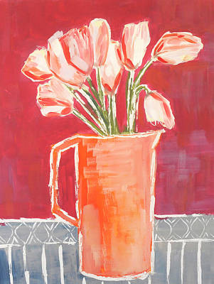 Wall Art - Painting - Pitcher Of Tulips by Kaley Alie