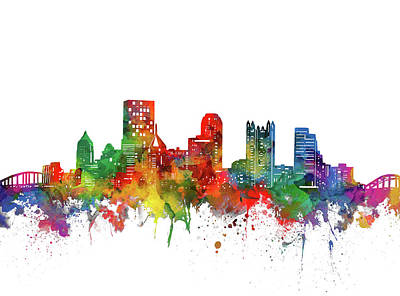 Abstract Skyline Royalty-Free and Rights-Managed Images - Pittsburgh City Skyline Watercolor by Bekim M
