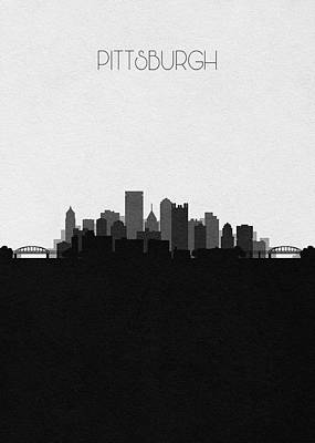 Skyline Drawing - Pittsburgh Cityscape Art V2 by Inspirowl Design