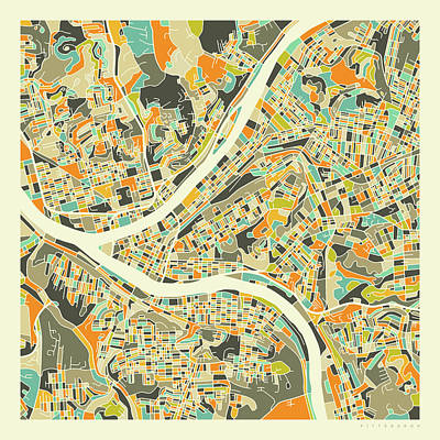 City Map Wall Art - Digital Art - Pittsburgh Map 1 by Jazzberry Blue