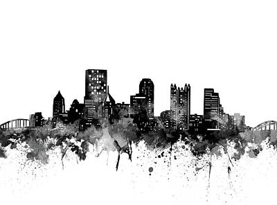 Abstract Skyline Royalty-Free and Rights-Managed Images - Pittsburgh Skyline Bw by Bekim M