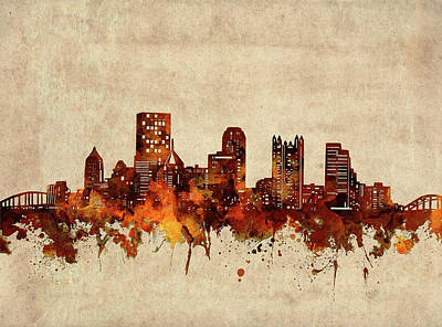 Abstract Skyline Royalty-Free and Rights-Managed Images - Pittsburgh Skyline Sepia by Bekim M