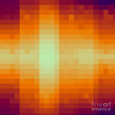 Digital Art - Pixelated Tropical Sunset by Rachel Hannah