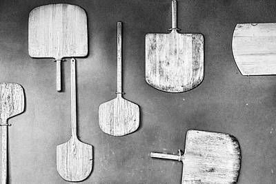 Photograph - Pizza Paddles Black And White by Sharon Popek