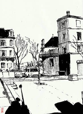 Drawing - Place du Palet, Angouleme by Javier Gonzalez de Castejon
