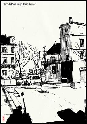 Drawing - Place du Palet  by Javier Gonzalez de Castejon