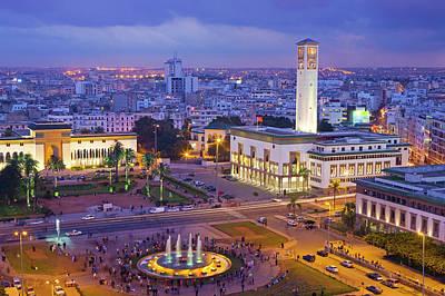 Casablanca Wall Art - Photograph - Place Mohammed V And City Skyline, Dusk by Scott E Barbour