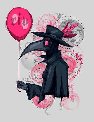 Drawing - Plague Doctor Balloon by Ludwig Van Bacon