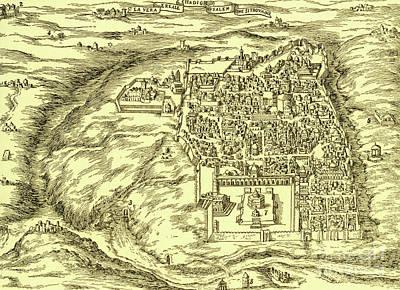 Drawing - Plan Of Jerusalem Circa 1600 by Israeli School