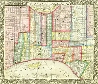 Mixed Media - Plan Of Philadelphia, 1860 by Augustus Mitchell
