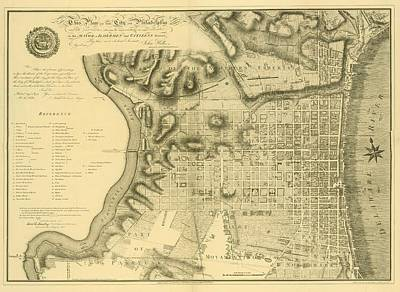 Mixed Media - Plan Of The City Of Philadelphia And Its Environs Shewing The Improved Parts, 1796 by John Hills