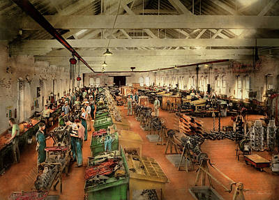 Photograph - Plane - Factory - Aircraft Repair 1919 by Mike Savad