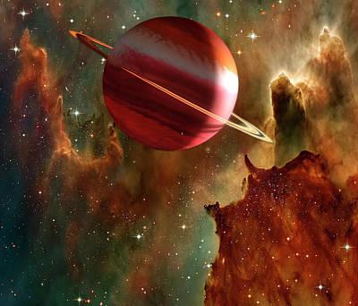 Digital Art - Planet And Nubula by Steve Allen