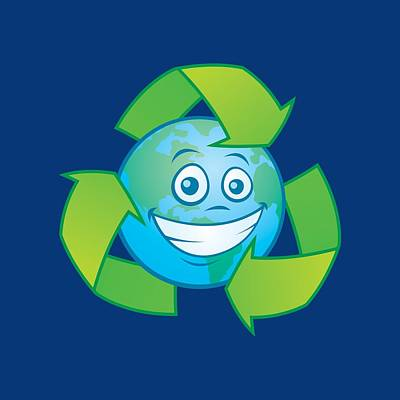 Royalty-Free and Rights-Managed Images - Planet Earth Recycle Cartoon Character by John Schwegel