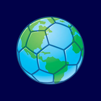 Sports Royalty-Free and Rights-Managed Images - Planet Earth World Cup Soccer Ball by John Schwegel