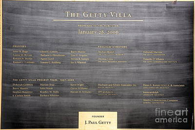 Photograph - Plaque The Getty Villa California  by Chuck Kuhn