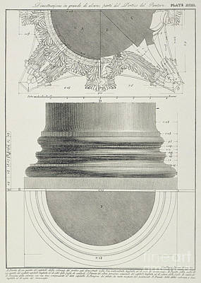 Drawing - Plate Xciii Large Scale Illustration Of A Detail From The Portico Of The Pantheon From Vedute by Giovanni Battista Piranesi