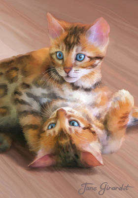 Painting - Playful Bengals by Jane Girardot