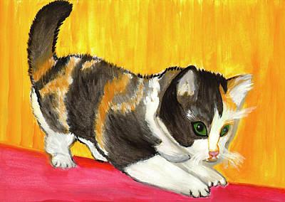 Painting - Playful Kitten by Dobrotsvet Art