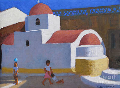 Painting - Playing By The Church, Karpathos, Greek Islands by Andrew Macara
