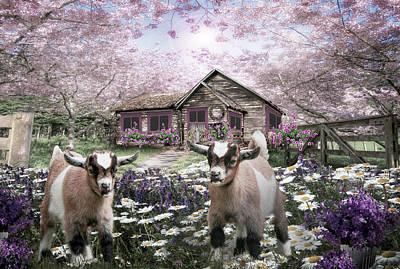 Digital Art - Playing In The Garden In Pale Tones by Debra and Dave Vanderlaan