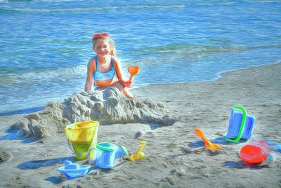 Photograph - Playing In The Sand Watercolors by Debra and Dave Vanderlaan