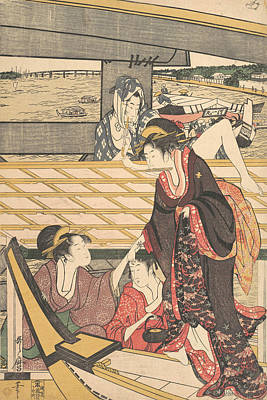 Relief - Pleasure Parties In Boats On The Sumida River Under The Ryogoku Bridge by Kitagawa Utamaro