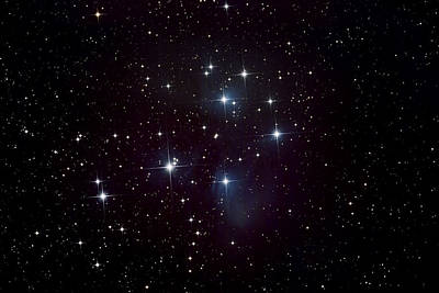 Photograph - Pleiades Star Cluster And Nebula by Plefevre