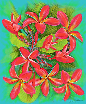 Painting - Plumeria Sunburst by Tony Franza