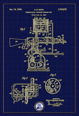Digital Art - Pneumatically Actuated Machine Gun Patent Drawing by Carlos Diaz