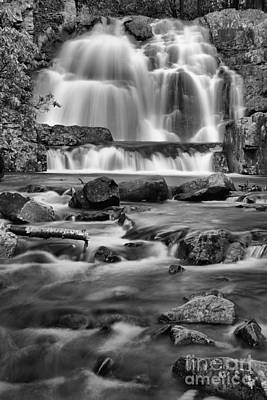 Photograph - Poconos Hawk Falls Portrait Black And White by Adam Jewell