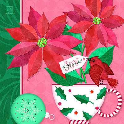 Digital Art - Poinsettia In Christmas Cup by Valerie Drake Lesiak