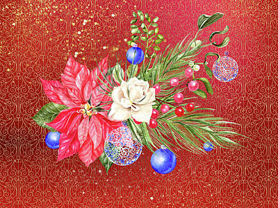Poinsettia With Blue Ornaments  Art Print
