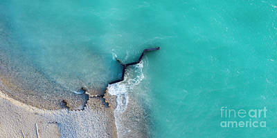 Royalty-Free and Rights-Managed Images - Point Betsie Beach and Breakwall Aerial by Twenty Two North Photography