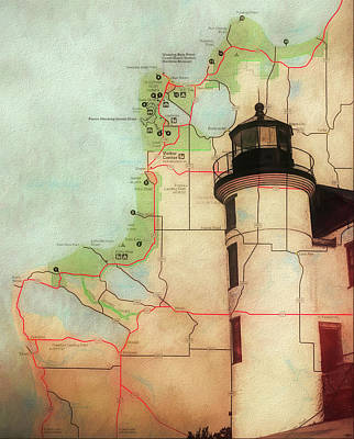 Mixed Media - Point Betsie Lighthouse Map by Dan Sproul