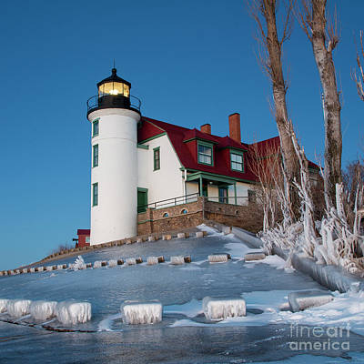 Royalty-Free and Rights-Managed Images - Point Betsie Lighthouse Square Winter by Twenty Two North Photography