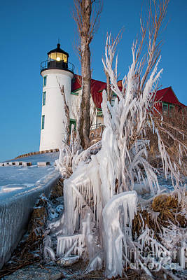 Royalty-Free and Rights-Managed Images - Point Betsie on Ice Vertical by Twenty Two North Photography