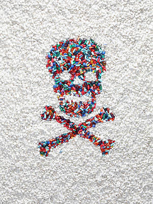 Capitalism Wall Art - Photograph - Poison Symbol Made From Pills by Dwight Eschliman
