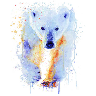 Winter Cabin Painting - Polar Bear  by Marian Voicu