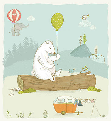 Painting - Cute White Polar Bear With Balloon Whimsical Art For Kids by Matthias Hauser