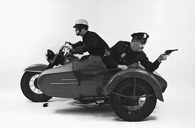 Photograph - Policemen On Motorcycle by Alfred Gescheidt