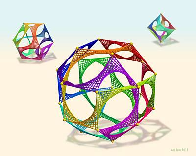 Digital Art - String Circuit Polyhedra by Dan Bach