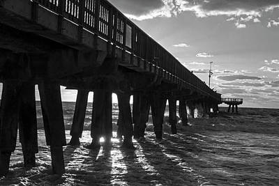 Photograph - Pompano Beach Fishing Pier At Sunrise Florida Sunrays Black And White by Toby McGuire