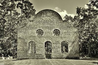 Photograph - Pon Pon Chapel Of Ease Jacksonboro South Carolina Black And White 2 by Lisa Wooten