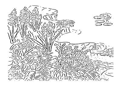 Digital Art - Pond Side At Paint My Sketch Art Group by Delynn Addams