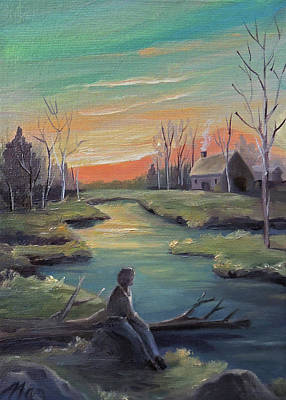 Painting - Pondering In Spring by Nancy Griswold