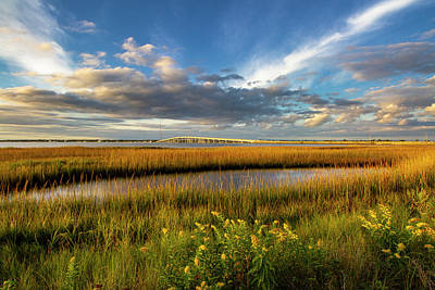 Photograph - Ponquogue Bridge Fall Color by Robert Seifert