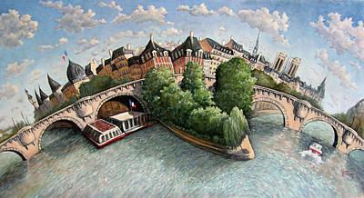 Painting - Pont Neuf- Paris by Linda Mccluskey