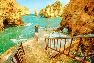 Photograph - Ponta Da Piedade Woman by Benny Marty