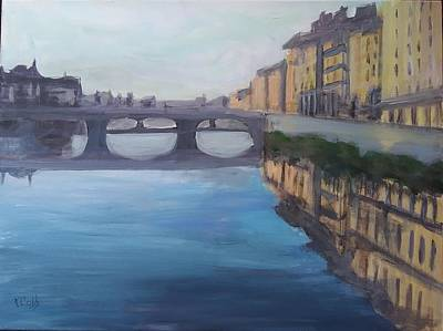 Painting - Ponte Vecchio Over The Arno River by Katherine Cobb
